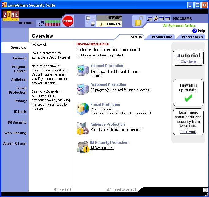 Скачать ZoneAlarm v.7.0.473.000 можно по следующим адресам (Windows All).